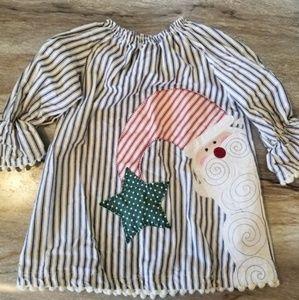 Mudpie Christmas Santa dress bell sleeves striped
